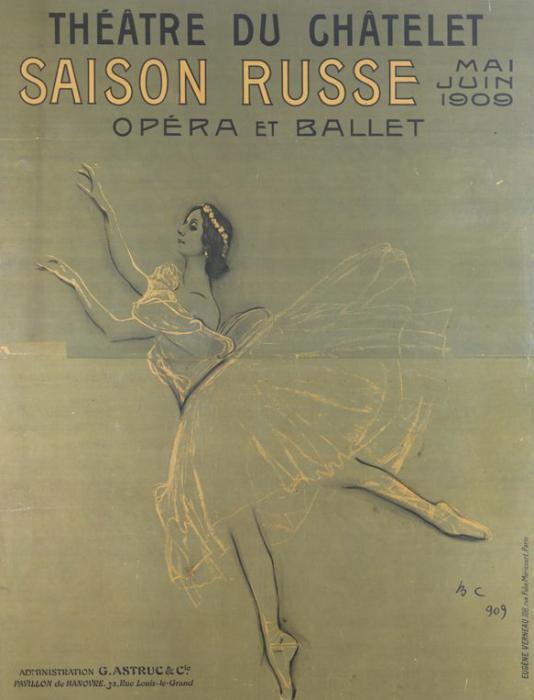 Афиша первого сезона «Русского балета» в Париже 1909 года