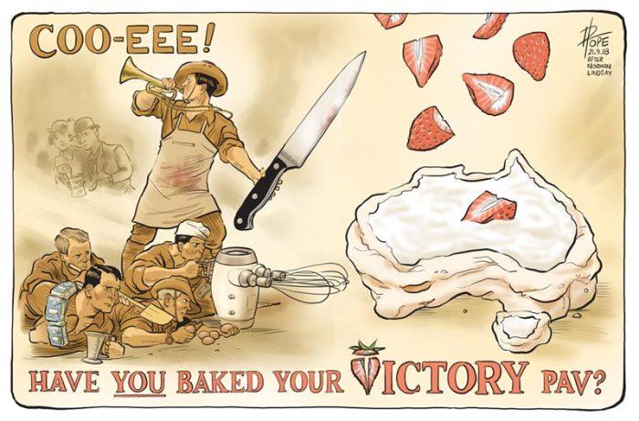 """Австралийский плакат, на котором можно разглядеть силуэт страны, с подписью: «А вы испекли свой торт """"Павлова"""" в честь Дня Победы?»"""