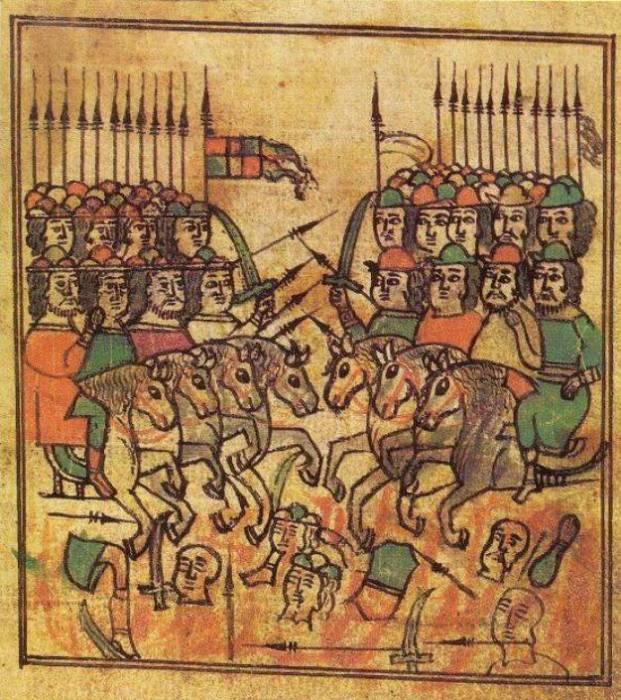 Куликовская битва. Миниатюра из летописи XVII века