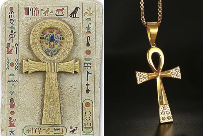 Слева – египетский иероглиф, справа – коптский крест