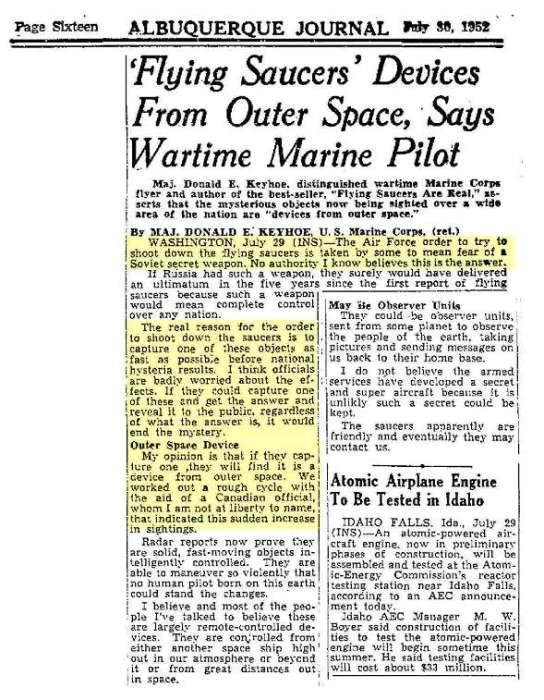 Некоторые очевидцы – например, военный лётчик США, наблюдавший явление – говорили прямо: «Тарелки – это устройства космического происхождения».
