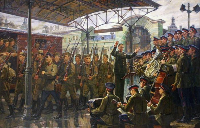 «Ансамбль Александрова на Белорусском вокзале, 26 июня 1941 г.»/ Фото: kcvs.ru.