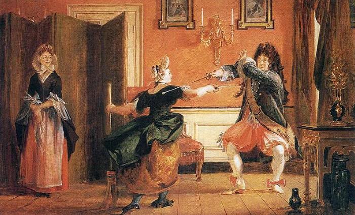 Иллюстрация к пьесе: Журден пытается показать своей служанке, как научился фехтованию.