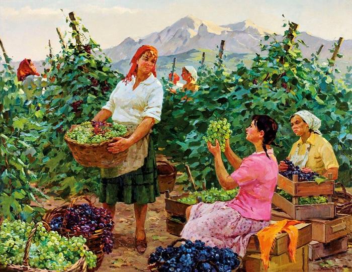 Сбор винограда. Картина Надежды Компаниец.