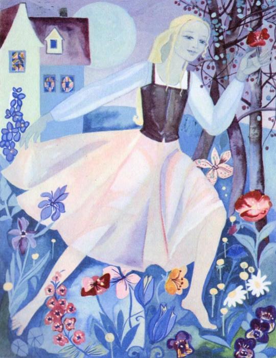 Герда сбегает из дома с говорящими цветами.