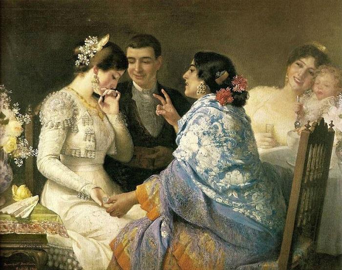 Часто возле девушки, которой гадает цыганка, мы видим на старых картинах напряжённого юношу. Скорее всего, он заплатил гадалке, чтобы та намекнула на него, как на судьбу этой девушки. Картина Хосе Бенльюре-и-Хиля.