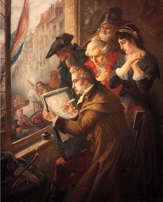 Картина Давида Мари, изображающая Марию-Антуанетту идущей на казнь.