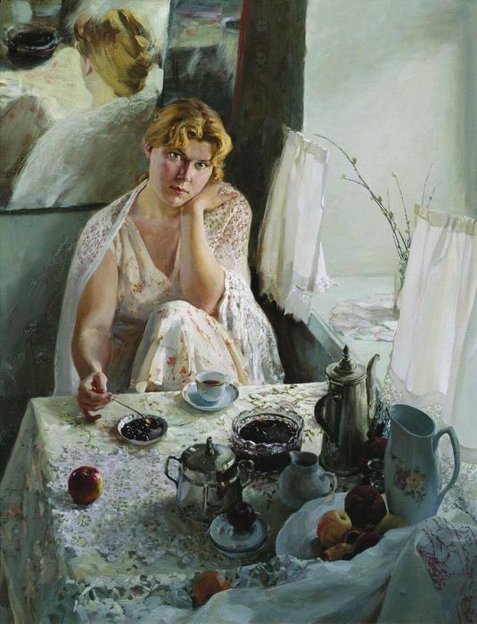 В Петербурге предпочитали кофе, в Москве — чай. Картина Анатолия Коробкина.