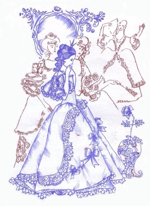 Иллюстрация к сказке «Свинопас». Принцесса отвергает розу.