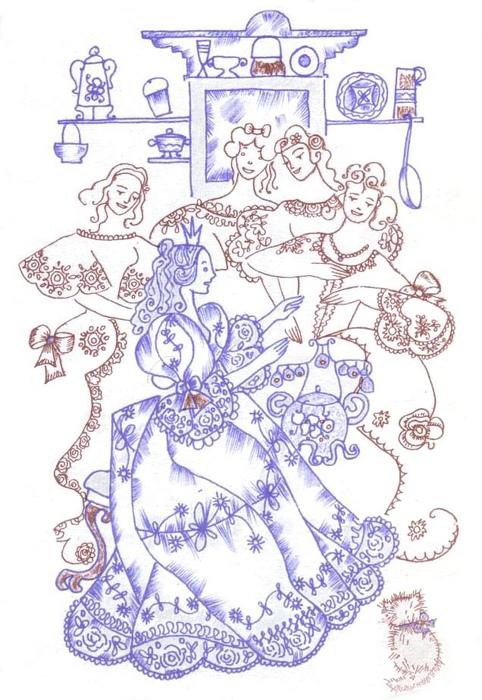 Иллюстрация к сказке «Свинопас». Волшебный горшочек.