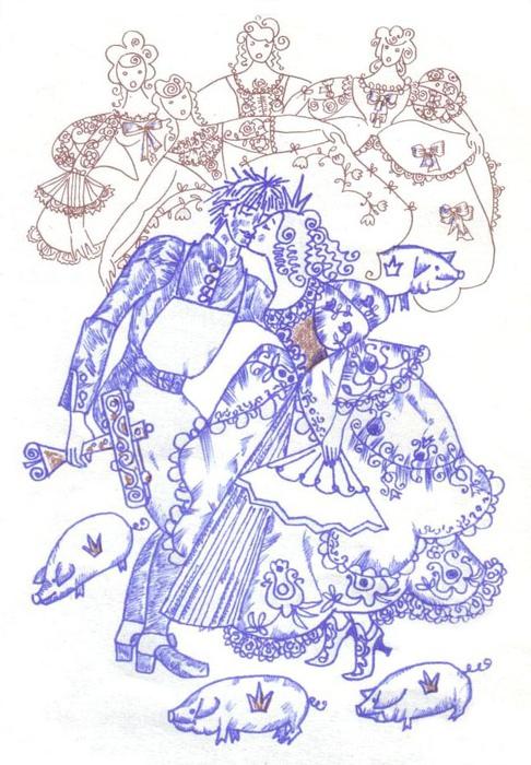 Иллюстрация к сказке «Свинопас». Принцесса целуется ради безделушки.
