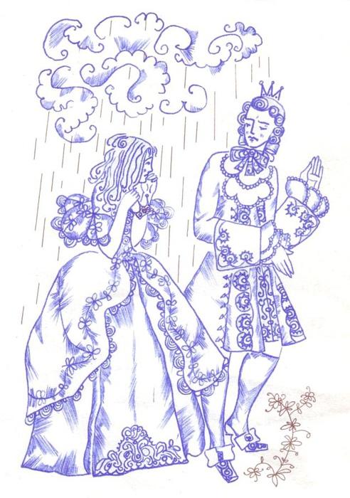 Иллюстрация к сказке «Свинопас». Принцесса под дождём.