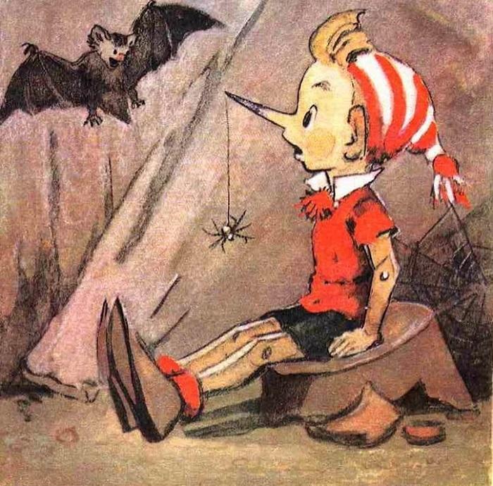 Мальвина лишает свободы передвижения случайного гостя. Иллюстрация Леонида Владимирского.