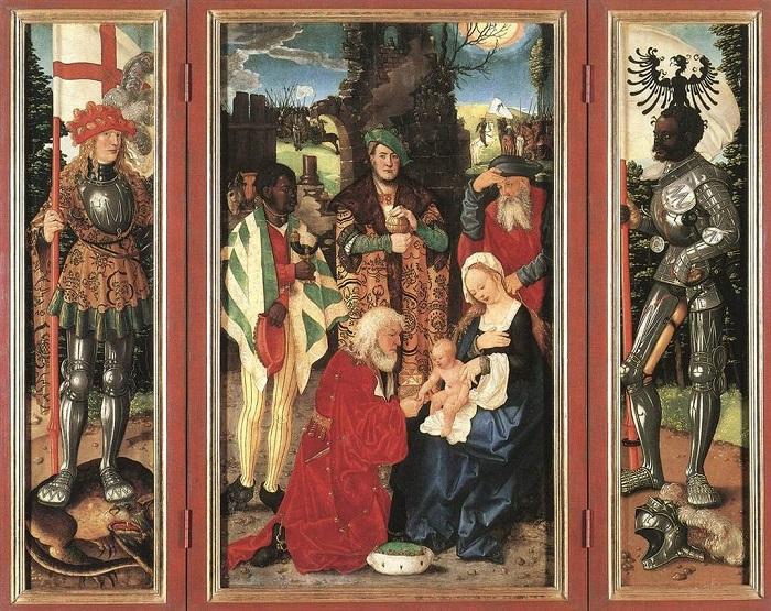 Справа на этом алтарном триптихе Святой Маврикий с германским гербом на флаге.
