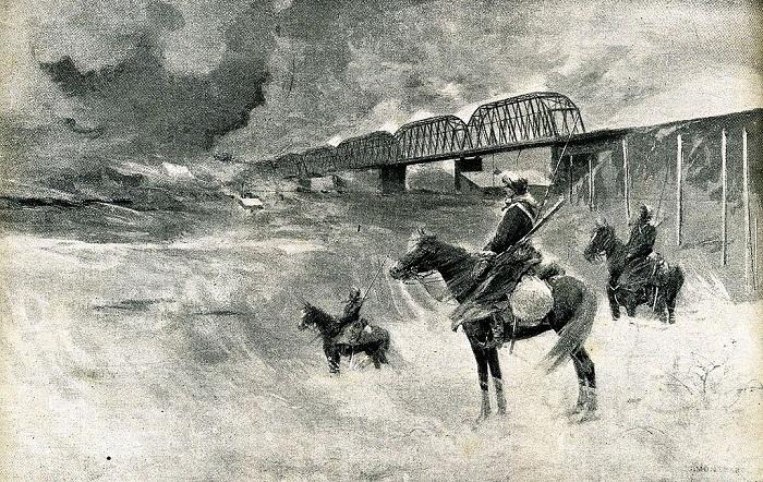 Казаки охраняют манчжурский участок российской железной дороги во время Русско-Японской войны.