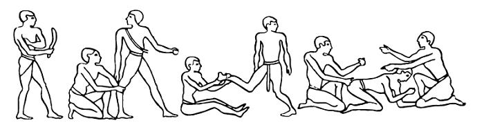 Иллюстрации из папируса, где описываются техники массажа.