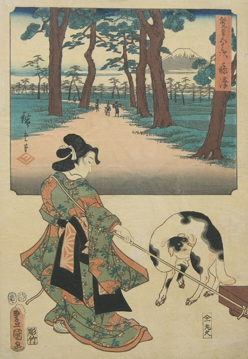 Женщина и собака на японской гравюре XIX века.