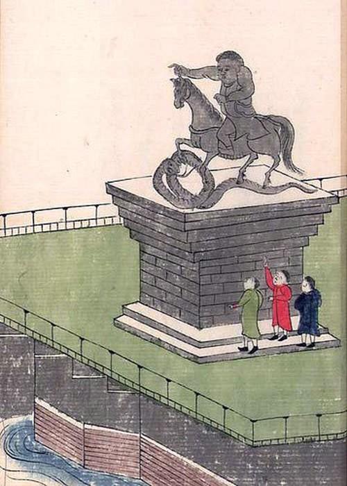 Памятник Петру, нарисованный по устному описанию.