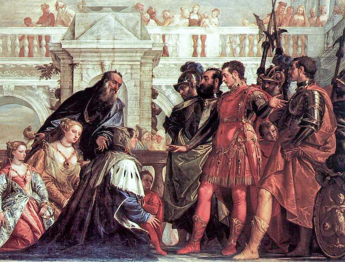 Картина Паоло Веронезе. Почему одни персонажи одеты антично, а другие - по моде эпохи Возрождения, неясно.