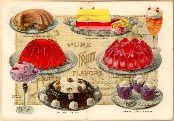 Реклама, объясняющая, какие десерты можно сделать из желе.