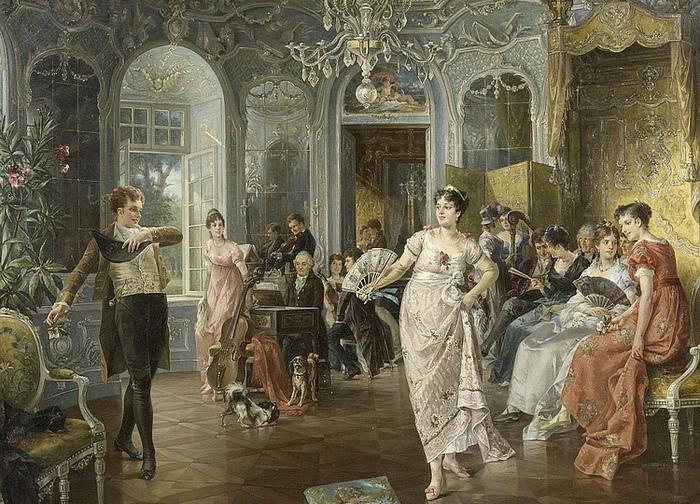 Почему барышням запрещали жёлтые платья и учили не краснеть: Правила хорошего тона до революции. Картина Карла Херпфера.
