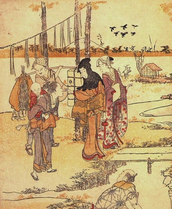 Дамы разговаривают с крестьянкой. Художник Кацусика Хокусай.