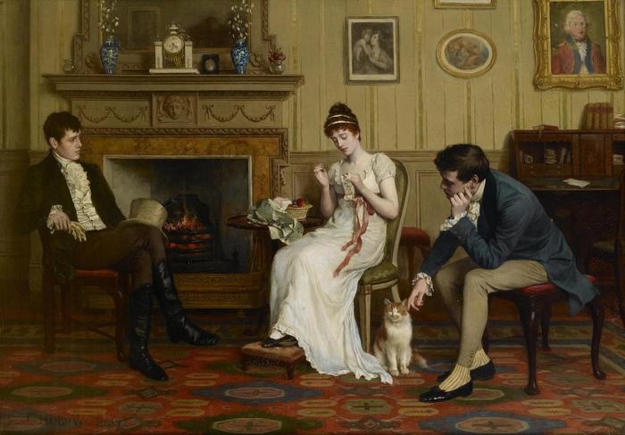 Чтобы прослыть стыдливой и невинной, девушка должна была краснеть или сохранять лицо бледным усилием воли. Картина Чарльза Хэя-Вуда.