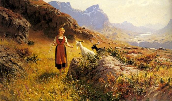 Норвегия долгое время была под властью Дании, и норвежский язык как таковой сохранился только в сельских районах. Картина Ханса Даля.