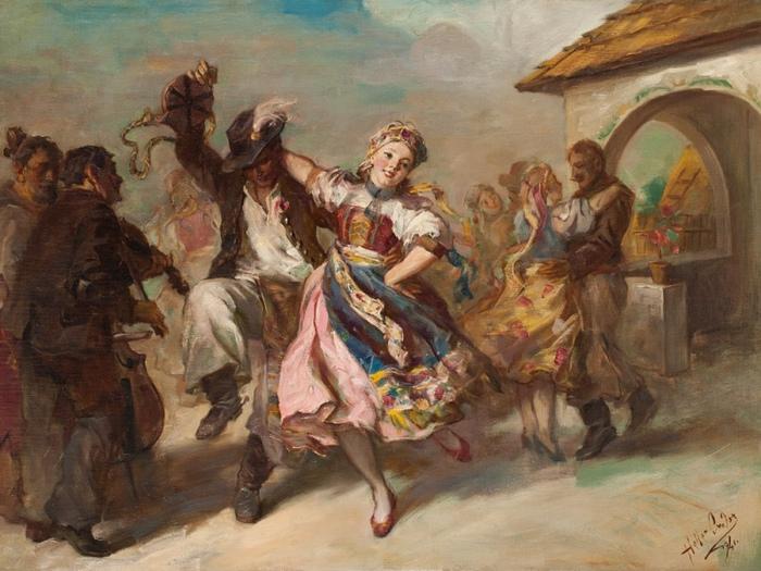 Венгерские костюмы давали хористкам возможность показать ножки. Картина Шандора Хеллера.