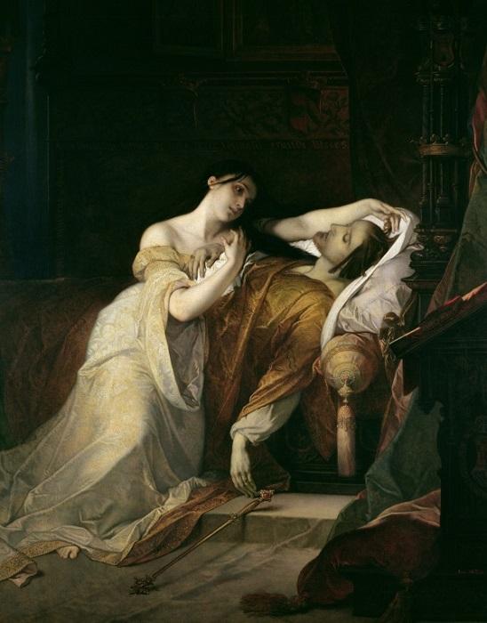 Хуана Безумна возле мёртвого Филиппа, картина Луи Галлэ.