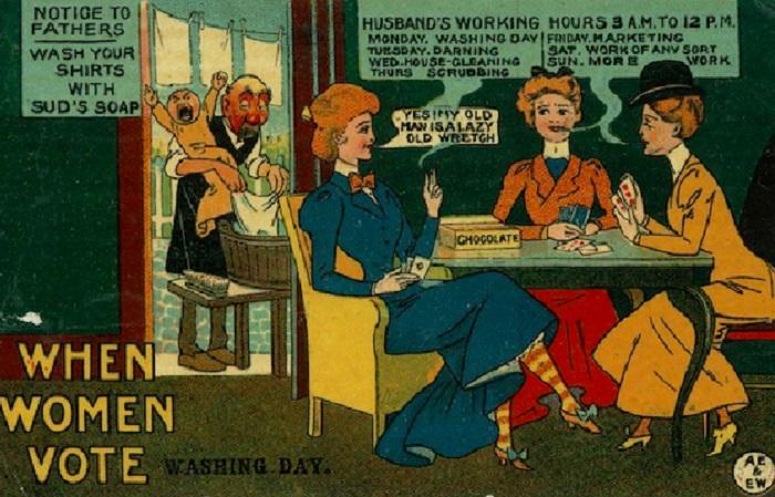 Судя по карикатурам, противники женских прав боялись, что женщины станут поступать с мужчинами, как мужчины поступают с женщинами: издеваться физически и экономически, заставлять без отдыха работать. В общем, противники женских прав боялись элементарной мести. Похоже, было за что мстить.