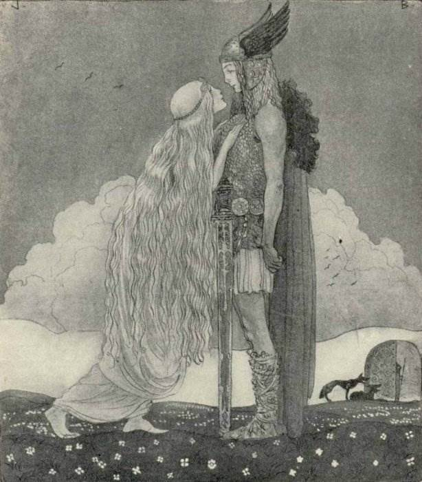 Фрейя и Тюр. Фрейю и других сказочных красавиц Йон рисовал с Эстер.
