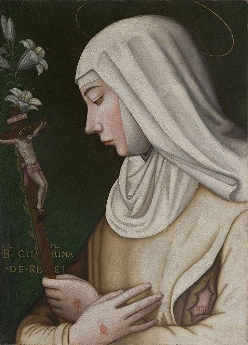 Самая знаменитая картина Нелли изображает Екатерину Сиенскую, святую, которая при жизни, не будучи монахиней, стала известным богословом, проповедницей и общественной деятельницей.