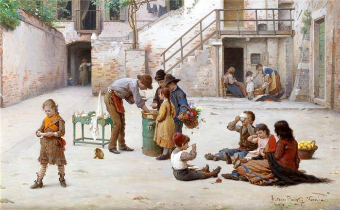 Продавец мороженого. Картина Антонио Паолетти.