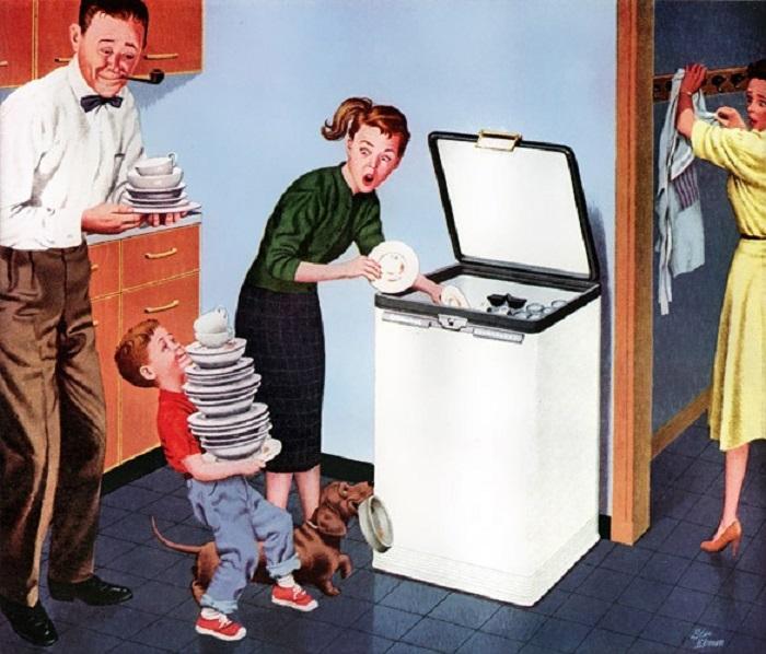 Из общих трендов выбивалась немного реклама бытовой техники. Она предлагала не убивать женщин домашней работой и могла изобразить, как домашние помогают жене или матери.