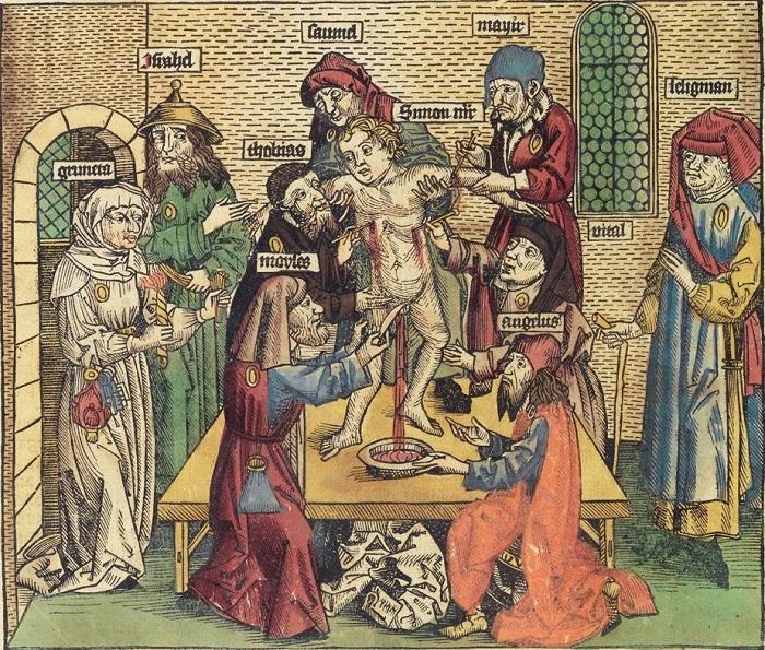 Гравюра, изображающая евреев и христианского ребёнка.