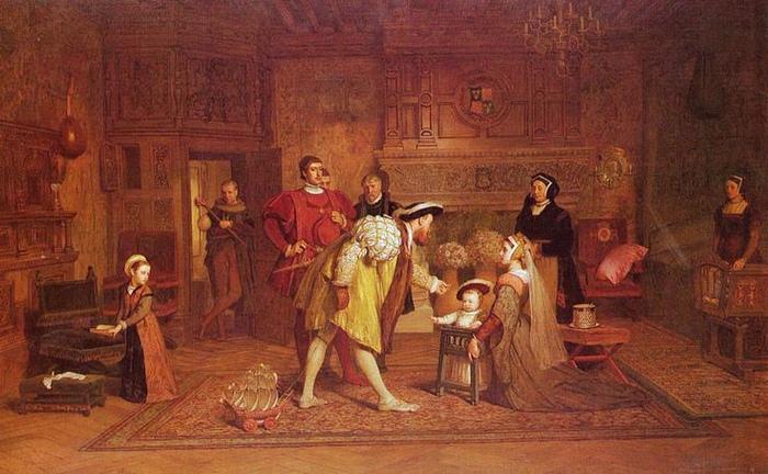 Король Генрих со своими детьми. Картина Маркуса Стоуна.