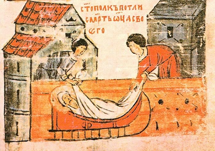 Святополк хоронит Владимира.