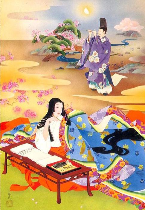 Сердце японской красавицы волновалось при звуках флейты. Художница: Харуё Морита.