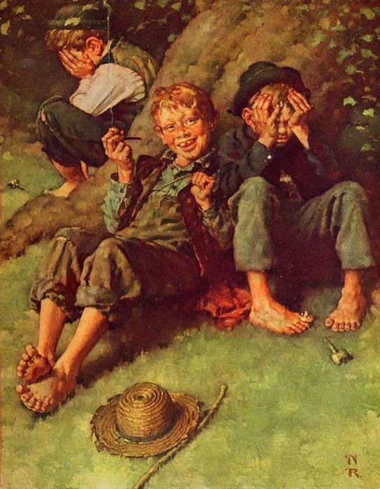 Не всем детям так нравится курить, как Геку Финну.