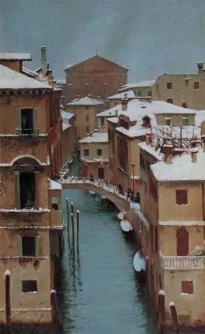 Венеция под снегом кисти Дзонаро.