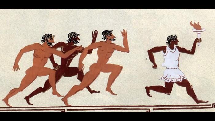 Все изображения греков с Олимпийским огнём — современные.