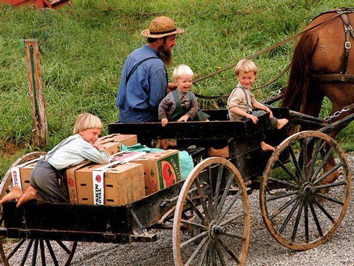 Семья амишей.
