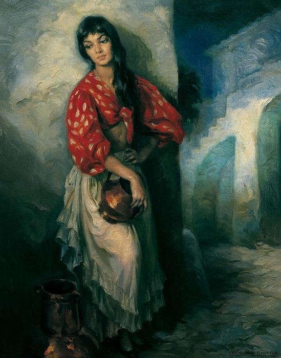 Традиционно художники осторожны с тем, чтобы показывать девушку направляющей пустой кувшин горлом на зрителя. На этой картине молодая цыганка держит такой кувшин возле паха, подчёркивая его возможную символику, но прикрывает его рукой; она соблазнительна, но не доступна. Картина Франсиско Риберы Гомеса.