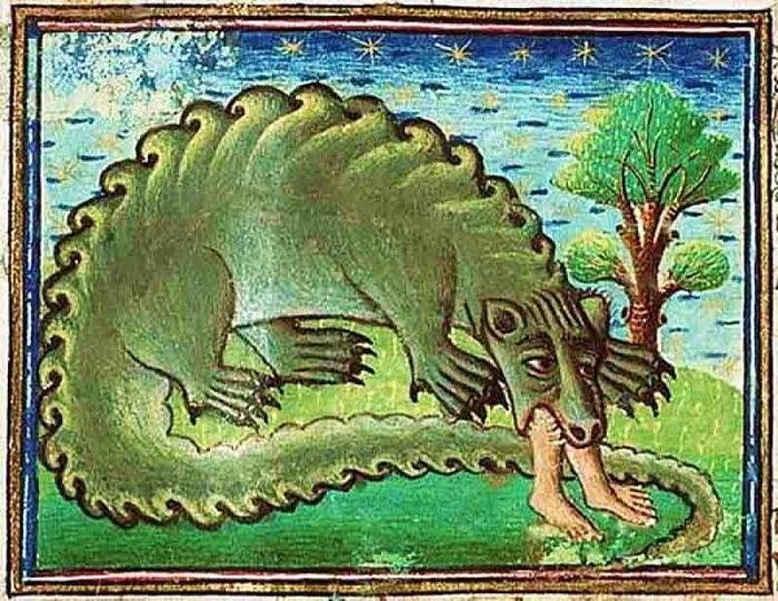 Средневековое изображение крокодила.