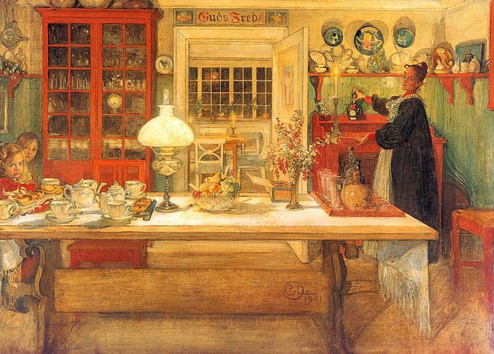 Карл Ларссон половину творчества посвятил тому, чтобы зафиксировать результаты работы с интерьером своей жены Карин и своей семье.