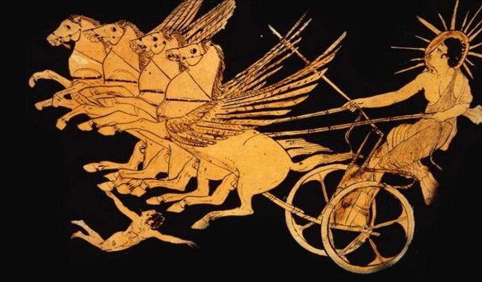 Изображение Гелиоса на античной вазе.