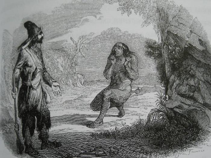 Робинзон встречает Пятницу, старинная иллюстрация.