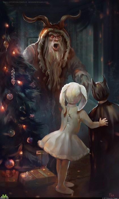 Крампус поначалу приходил вместо Санта Клауса, потом - до Санты. Сейчас Санта приходит один.