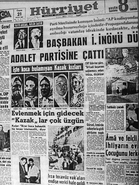 Турецкая газета с фотографиями казачек и подписью, рассказывающей, что они не могут найти в Турции мужей.